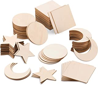 Unfinished Wood Pieces 4 x 4 Inch Blank Wooden Cutouts Square Circle Star and Moon Shape Door Hanger Wood Slices for DIY A...