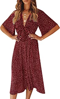 Sommerkleid Damen V-Ausschnitt Polka Dot Midikleid Knielänge Vintage Boho Kurzarm Strandkleider