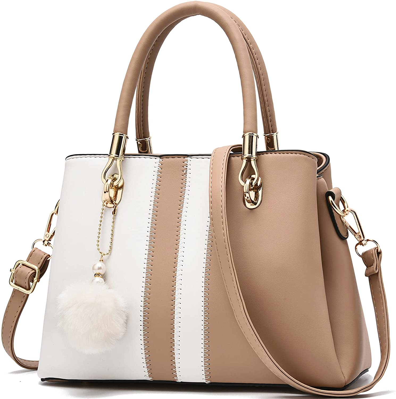 Womens Handbags Arlington Mall 5 ☆ popular Purse Top Handle Bags Contrast Stitching Color L