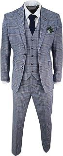 Mens Blue Navy 3 Piece Tweed Suit Herringbone Vintage Peaky Blinders 1920's Retro