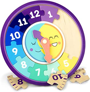 Imagination Generation Day & Night Teaching Clock, 13-Piece Wooden Reversible Jigsaw Puzzle Clock Faces for Basic and Adva...