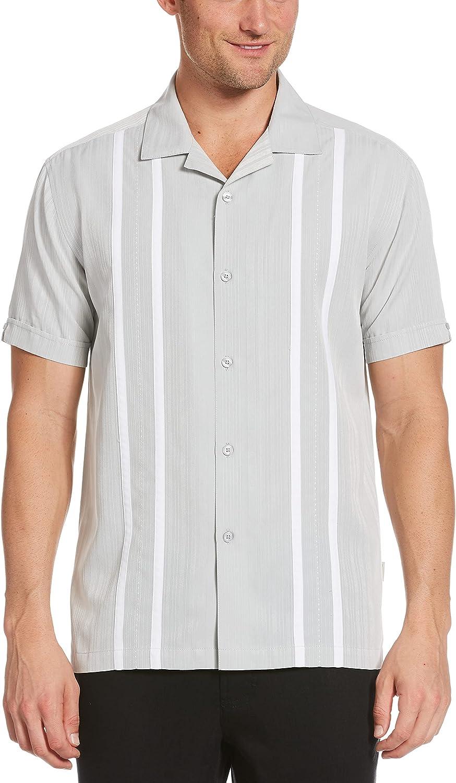 Cubavera Men's Ecoselect Contrast Panel Short Sleeve Button-Down Shirt