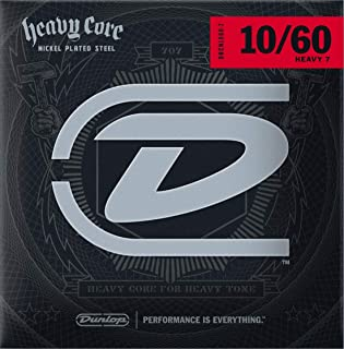 Dunlop DHCN1060 Heavy Core Nickel Wound Guitar Strings, Heavy, .010–.060, 7 Strings/Set