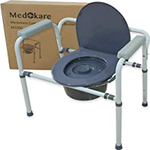 Medokare Bedside Commode Chair - Heavy-Duty Steel Commode Seat, Bedside Potty Chair for Adults, Medical Handicap Toilet Seat with Handles and Bucket