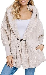 b39b6296cd2f4 Happy Sailed Women Button Lapel Hooded Faux Fuzzy Shearling Fleece Open  Front Warm Oversized Jackets Coat