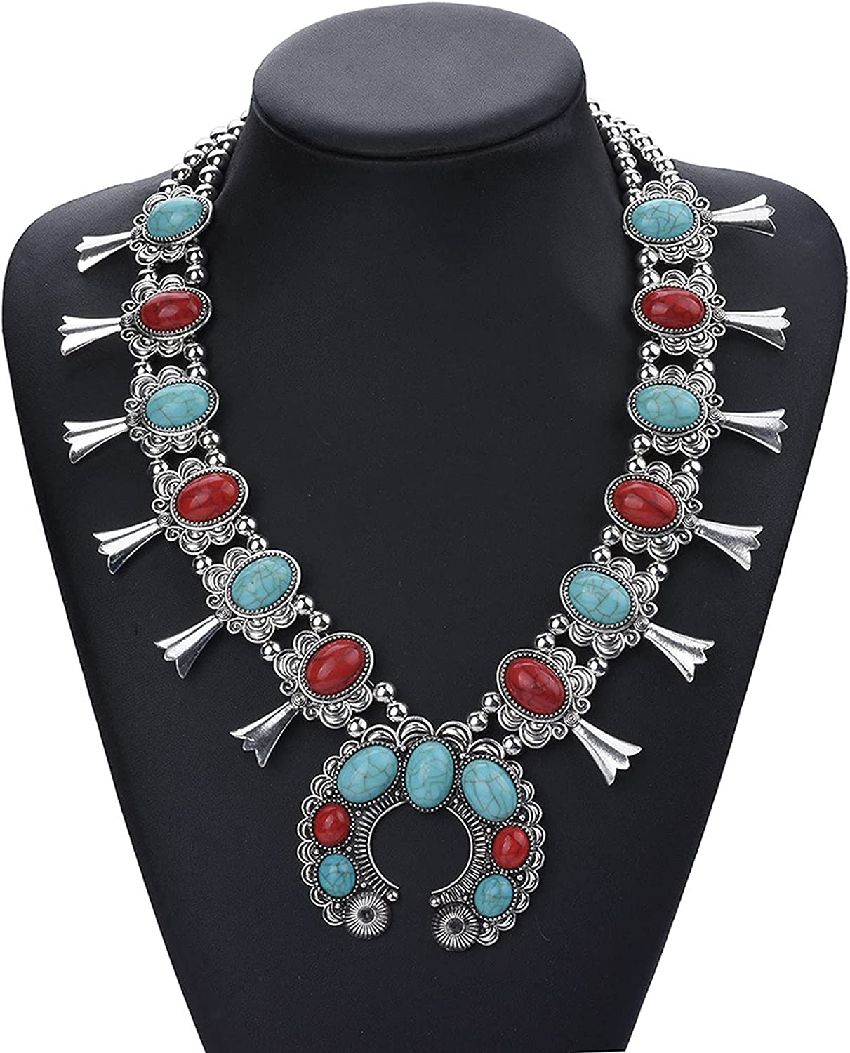 WANZPITS Vintage Bohemian Turquoise Pendant Necklace for Women Fashion Exaggerated Statement Chunky Collar Necklace Creative Costume Necklace Jewelry Birthday Gift,1