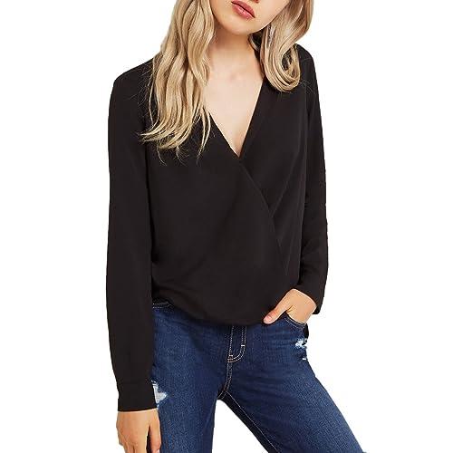 cd18d315636a7 Dohia Women s Casual V Neck Chiffon Blouses Long Sleeves Loose Tops Wrap  Front Surplice Shirt