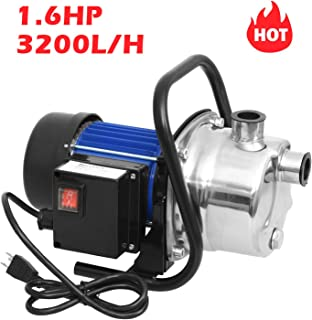 Homdox 1.6HP Stainless Shallow Well Pump Booster Pump Lawn Sprinkling Pump Sprinkler Water Pump for Home Garden Water Transport Irrigation (Red)