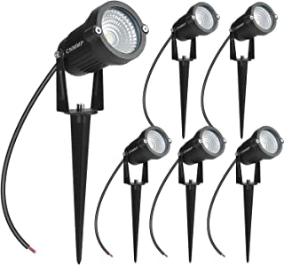 CNMMP 6 Pack 5W LED Landscape Light, 12V 24V Waterprrof Warm White Outdoor Spotlight with Spike Stand Low Voltage Trees Flags LED Pathway Lights for Garden, Driveway, Yard, Lawn, Flood,Fence