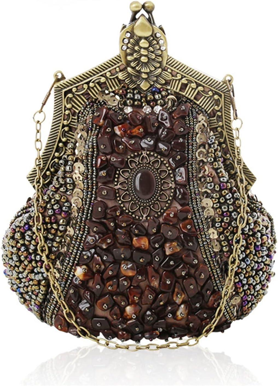 Evening Clutch Bag Embroider Beads Women Evening Bag Handmade Vintage Clutch Party Banquet Wedding Gifts Dress Handbag (Color : Khaki, Size : Small)
