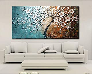 لوحة فنية زيتية مرسومة باليد بدون إطار مقاس 60 × 120 سم، لوحة فنية للديكور على قماش رسمة شجرة أزهار