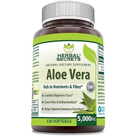 Herbal Secrets Aloe Vera Natural Dietary Supplements, 120 Softgels, 5000 Mg