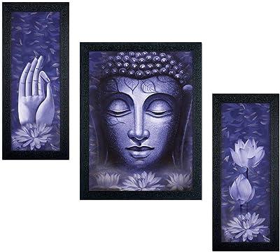 Delight Peace Mind Blue Buddha Set of 3 Pantings