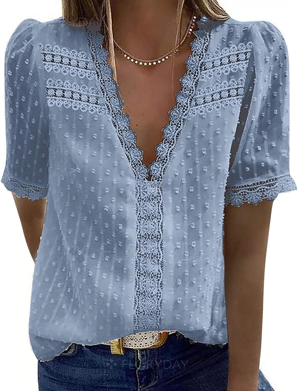 WUHOVILA Women's V Neck Short Sleeve Lace Shirts Blouses Vintage Elegant Tunic Tops Fashion Vest