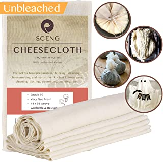 Cheesecloth, Grade 90, 18 sq Feet, 100% Unbleached Cotton Fabric, Ultra Fine Cheesecloth..