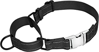 Reflective Martingale Dog Collar for Medium Large Dogs Safety Training Dog Collar with Quick Release Buckle by WHIPPY, Bla...