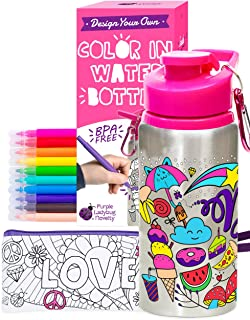 Best Purple Ladybug Color Your Own Water Bottle for Girls Craft Kit with 10 Bright Markers, Rhinestone Gem Stickers & a Bonus Pencil Case - BPA Free, Kids Water Bottle - Great Gift for Girl & Fun Activity Review