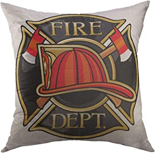 Mugod Decorative Throw Pillow Cover for Couch Sofa,Red Badge Fire Department or Firefighters Maltese Cross Symbol Truck Helmet Home Decor Pillow Case 18x18 Inch
