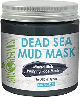 Sky Organics Dead Sea Mud Mask Dead Sea Facial Mask Purifying Mud Mask for All Skin Types Cruelty Free Vegan Face Mask with Natural Ingredients, 8 oz