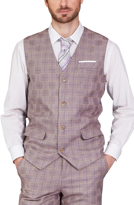 Hanayome 2017 Men's Waistcoat Irregular Grid Business Party Grey V-Neck Vests