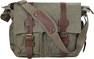 Men's Canvas Cow Leather DSLR SLR Vintage Camera Shoulder Messenger Bag Light Green
