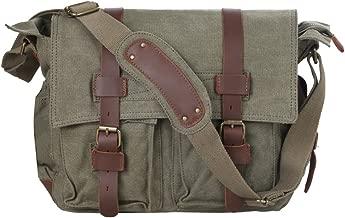 Kattee Men's Canvas Cow Leather DSLR SLR Vintage Camera Shoulder Messenger Bag Light Green