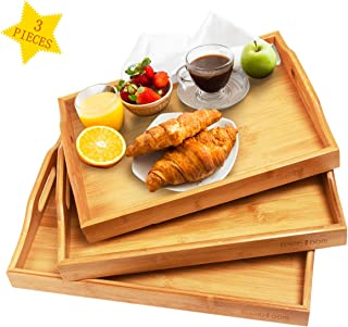 Serving Tray with Handles - Wood Bamboo Tray for Food Breakfast Dinner Party,Tea Coffee Table Tray,Ottoman Decor Set of 3