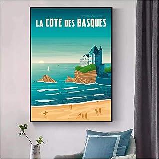 Vscdye Biarritz VoyageImpression sur Toile HD Art Affiche PhotosSalon Photos décor à la Maison Cadeau Unique-24x32 s...