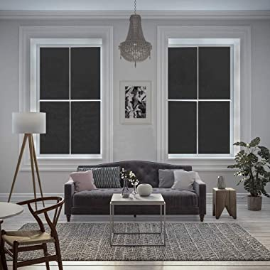 rabbitgoo Total Blackout Window Film, Light Blocking Window Coverings Static Cling Room Darkening Film for Privacy Non-Adhesi
