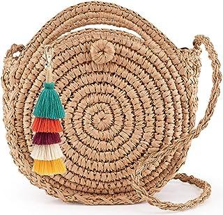 comprar comparacion Longle - Bolso de paja redondo con borlas, colgante de bolso con asa y correa, bolso de paja hecho a mano, bolso de mano, ...
