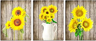 Sunflower Painting Wall Art Decor - Modern Yellow Rustic Flowers on Wood Background Nature Office Home Decoration Canvas Pictures for Living Room Kitchen Floral Farmhouse Artwork 3 Panels Unframed