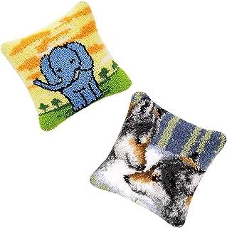 Kit crochet de loquet pour adultes DIY Crochet Kits de fils de broderie Coussin de coussin de broderie Croft d'aiguille po...