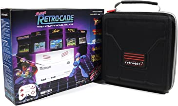 Geek Theory Retro Bit Super RetroCade Plug & Play Classic HD Game Console (Version 1.1) with Retro-Bit Carrying Case Preloaded with Over 90 Popular Arcade Titles (Red/White) - for NES, SNES
