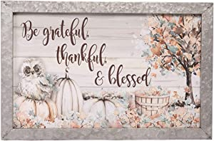 One Holiday Way Rustic Fall Scene Wooden Sign with Galvanized Metal Frame, Pumpkins, Woodland Owl, and Saying - Decorative Autumn Wall Art Decoration - Thanksgiving Country Harvest Home Decor