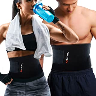 AZSPORT. Waist Trimmer - Adjustable Ab Sauna Belt to shed The Excess Water,  Weight and Tone of mid Section,  Black - One Size Fits up to 50 Inches