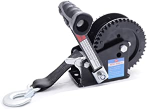 Trailer Winch 2000LB EDC Coated Black Dual Drive Winch with 25-Foot Strap