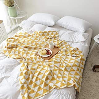 DOUH Knitted Throw Blanket for Sofa Bed Couch, Lightweight, Home Decorative Soft & Cozy Knit Blanket - Yellow, 51x63inches