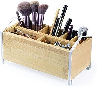 SRIWATANA Makeup Brush Holder,Wood Makeup Organizer, Wooden Cosmetic Storage Case,Cosmetics Organizer Box, 10