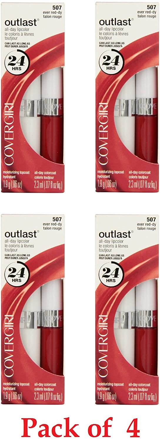 Covergirl Outlast Opening large release sale Lipcolor Ever 507 Pack 4 Under blast sales Red-dy
