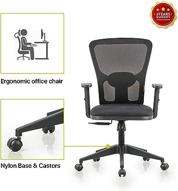 Featherlite Astro Medium Back Desk Arm Chair (Black)