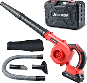 AOBEN Cordless Leaf Blower with Battery & Charger, Powerful Leaf Blower 150 MPH for Yard Clean/Lawn Care/Garage, Lightweight Leaf Blower Battery Powered for Snow Blowing - Red