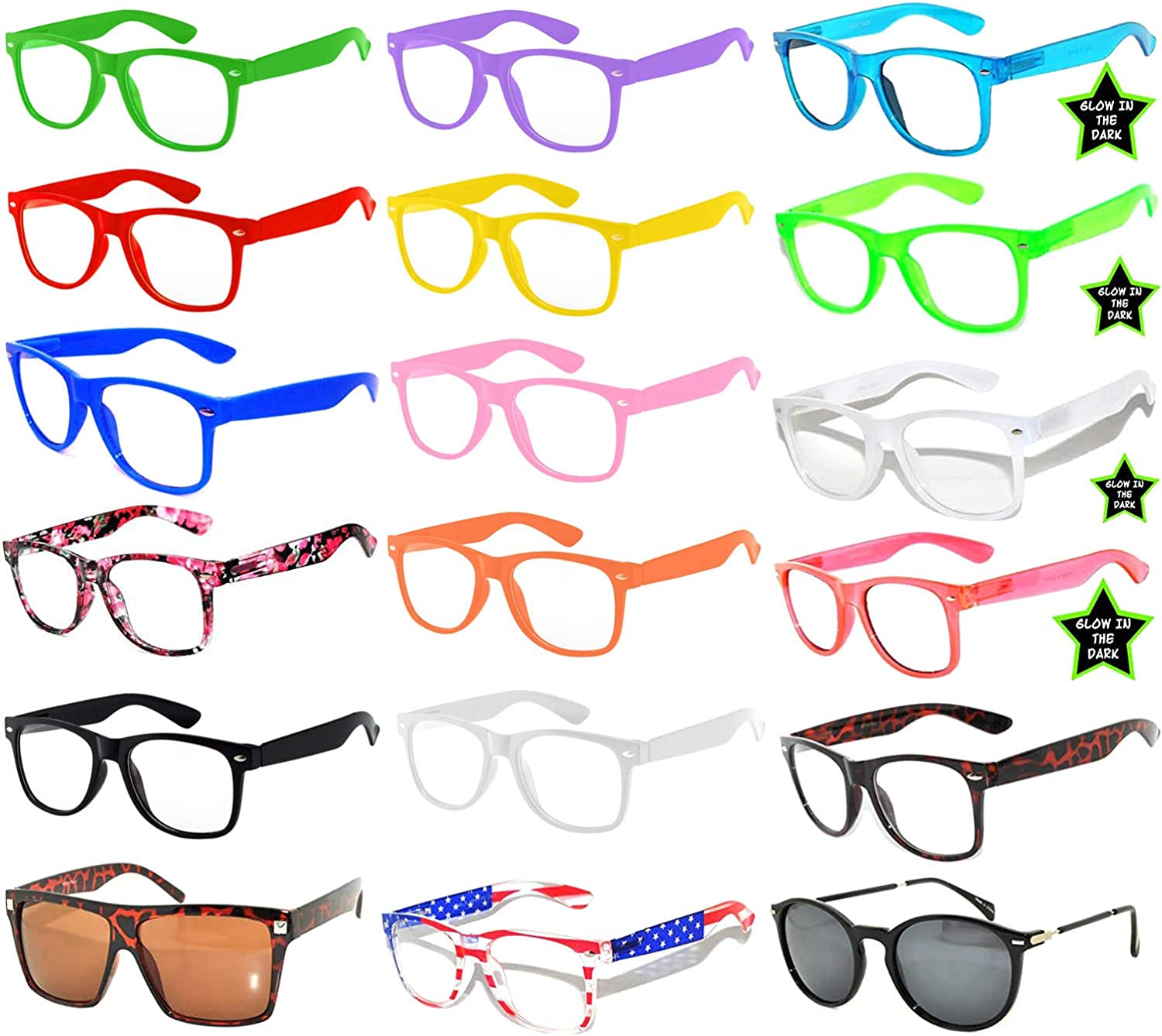 6,5,10,18 Pack Vintage Owl Retro 80's Sunglasses colord Frame