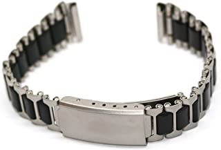 14mm Black Silver Stainless Steel Sport Deployment Buckle Band Fits Ironman