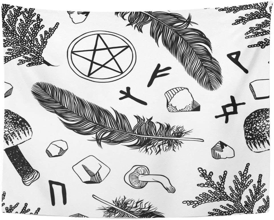 Amazon Com Tarolo Decor Wall Tapestry Boho Witchcraft Pattern Ritual Things Wicca Attributes For Young Witch Goth 80 X 60 Inches Wall Hanging Picnic For Bedroom Living Room Dorm Home Kitchen