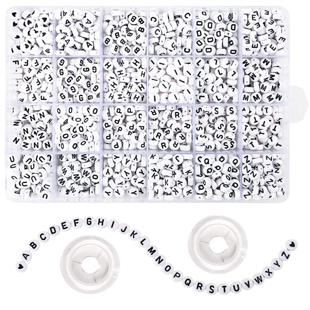 Quefe 1500 Pieces Letter Beads 4×7mm White Acrylic Alphabet Beads for Jewelry Making Bracelets Necklaces and Key Chains