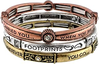 Stackable Inspirational Religious Stretch Multi Tone Plated Bracelet(3 for 1 Set)