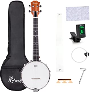 lotmusic 4 String Banjo Sapele travel ukulele 26 Inch Remo Drumhead Open Back with beginner kit Extra string Allen wrench ...