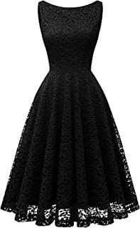 Bbonlinedress Women's Short Floral Lace Bridesmaid Dress V-Back Sleeveless Formal Cocktail Party Dress