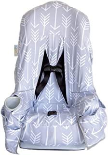 Niko Easy Wash Children's Car Seat Cover & Liner - Cotton Jersey Grey/White Arrow Pattern - Universal FIT - Crash Tested - Waterproof SEAT Bottom - Mess Protection - Easy to Clean - Machine Washable