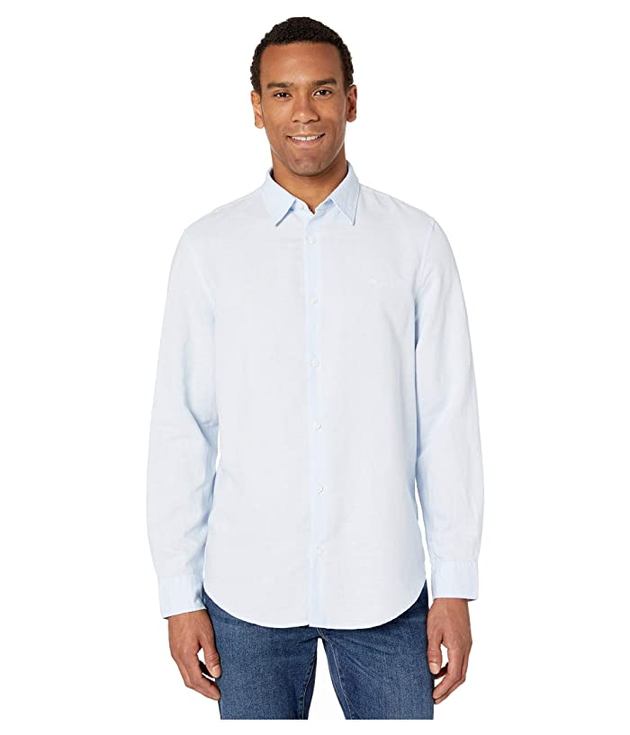 2649aeea7348 Calvin Klein Long Sleeve Cotton Linen Button Down Shirt at 6pm